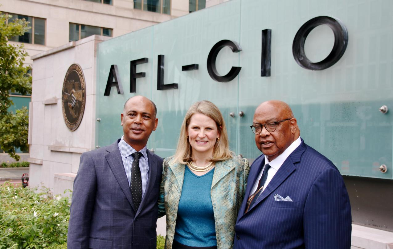 AFL-CIO Executive Officers: Executive Vice President Tefere Gebre, President Liz Shuler and Secretary-Treasurer Fred Redmond in front of AFL-CIO Headquarters in Washington, D.C.